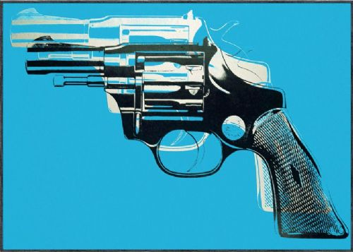 ART - POP ART GUN BLUE canvas print - self adhesive poster - photo print